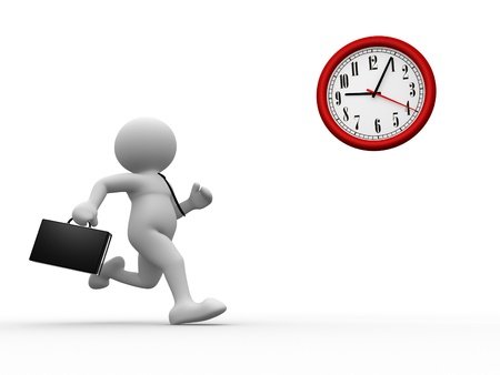 working hour: 3d people - human character, person with briefcase run time  Businessman and a clock  3d render