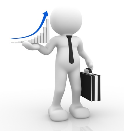 3d  people - human character, person with briefcase and a graph of success   3d render Stock Photo - 14800049