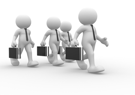 3d people - human character, person with briefcase and tie  Businessman  Teamwork  3d render  Stock Photo - 14801540