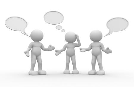 dialogo: 3d gente - carácter humano, persona y burbujas en blanco render 3d Foto de archivo