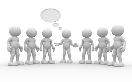 3d people -human character, group of person  Leadership and team - This is a 3d render illustration Stock Illustration - 14801627