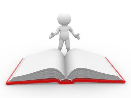 3d people -human character, person and a open book. 3d render Stock Photo - 14801684