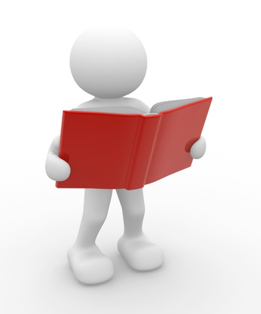 3d people - human character, person with a open book. 3d render photo