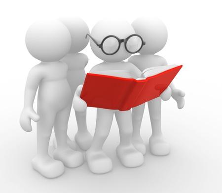 les geven: 3d mensen-menselijk karakter, persoon en een open boek. 3d render Stockfoto