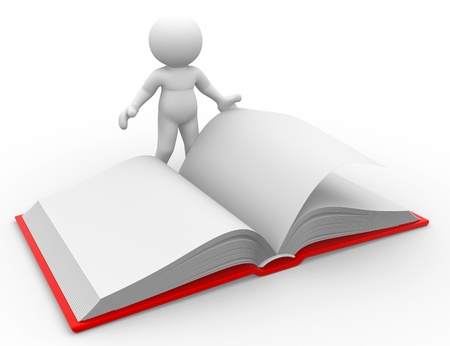 3d people - human character, person with a open book. 3d render Stock Photo - 14802299
