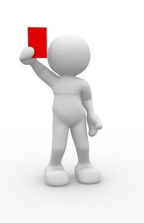 Les gens 3d - caractère humain, personne avec un arbitre montrant un carton rouge. 3d render