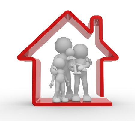 ????? 3d: 3d people - human character, person and a house. Kids and parents. Family house . 3d render