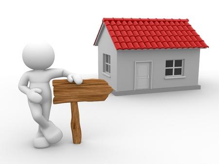 marioneta de madera: 3d gente - hombre, persona con una casa y una flecha de madera. Buscador de Inmuebles