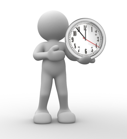 show time: 3d people - human character, person and a clock. 3d redner  Stock Photo