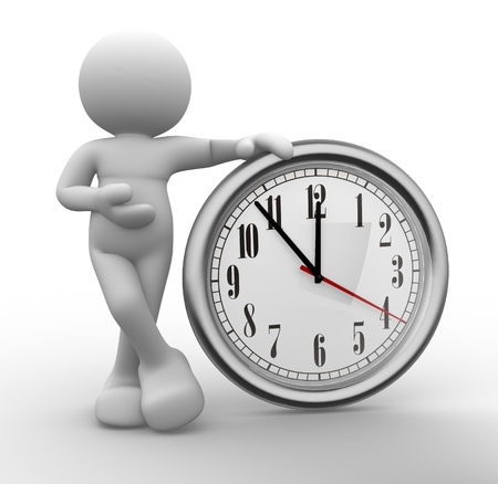 elapsed: 3d people - human character, person  and a clock. 3d render