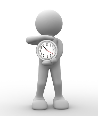 elapsed: 3d people - human character, person with a clock. 3d render Stock Photo