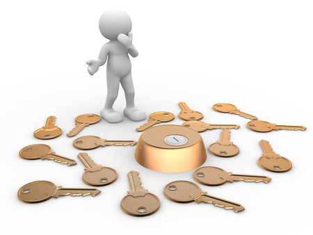 3d people - human character, person with keys and keyhole. Confusion, choice, risk. 3d render