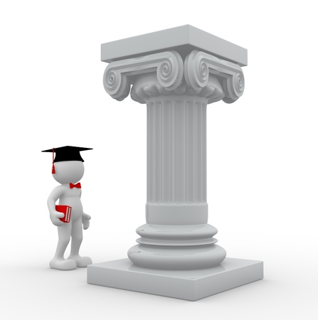 3d people - human character, person with graduation cap and roman columns. Graduate and books. 3d render  photo