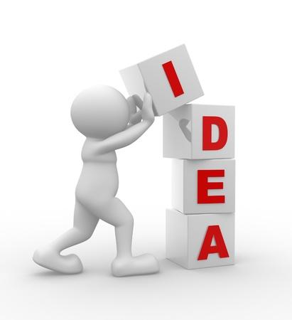 """problema: 3d gente - car�cter humano, persona y cubos con """"idea"""". 3d render"""
