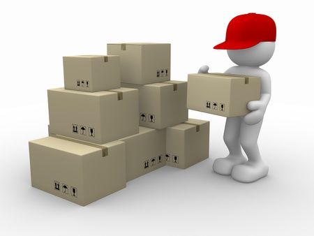 3d people - human character, person with stacking cardboard boxes. Postman. 3d render photo