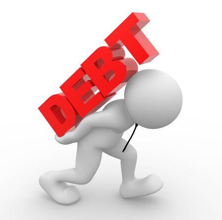 3d les gens - caractère humain, personne qui exerce le mot «dette» sur son dos. Concept de dette. 3d render