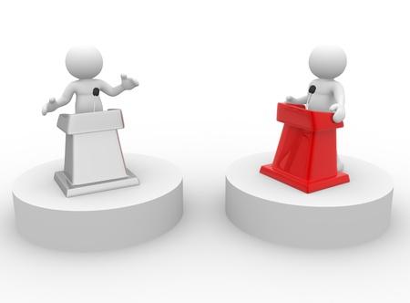 3d gente - carácter humano, persona que habla desde una tribuna. Discurso en el micrófono - la confrontación. 3d render Foto de archivo