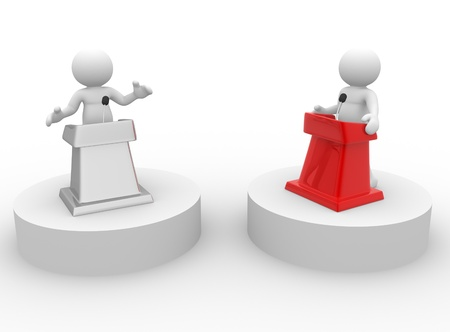 debate: 3d people - human character , person speaking from a tribune. Speech at the microphone - confrontation. 3d render