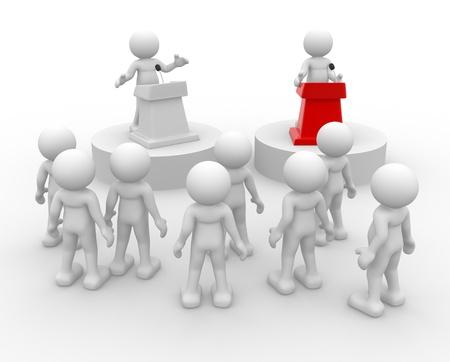 3d mensen - menselijk karakter, persoon spreekt van een tribune. Toespraak bij de microfoon - confrontatie. 3d render