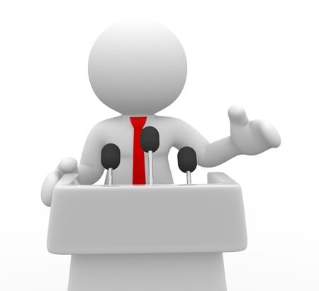 speeches: 3d people - human character , person speaking from a tribune. Speech . 3d render  Stock Photo