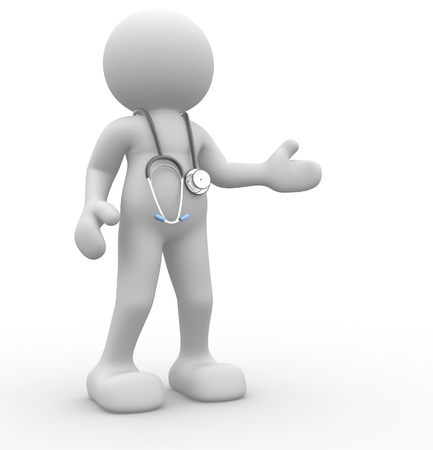 first aid box: 3d people - human character, person with a stethoscope. Doctor. 3d render