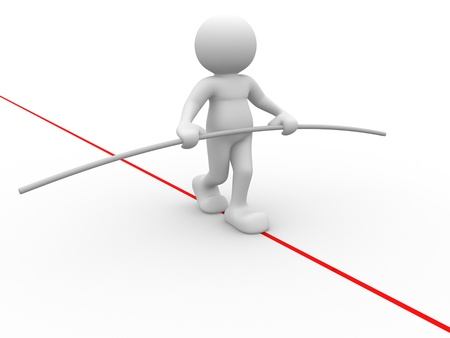 stability: 3d people - human character, person walking on a rope.  acrobat balancing. 3d render