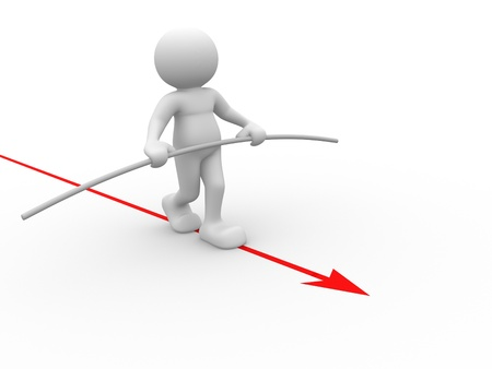 tightrope: 3d people - human character - person walking on a arrow.  Acrobat balancing. 3d render