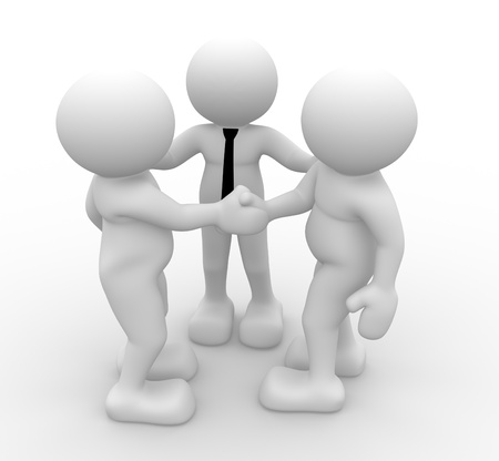 3d people - human character, person - friendly hand shake. 3d render photo
