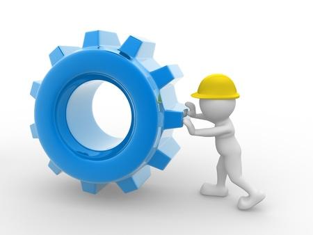 industrial mechanics: Gente 3d - car�cter humano, persona con un casco y un mecanismo de engranajes. Trabajador. 3d render