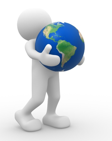 3d people - human character, person and a earth globe. 3d render photo