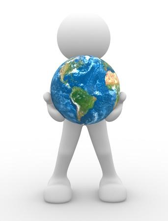 planeta tierra feliz: 3d gente - carácter humano, persona y un globo terráqueo. 3d render