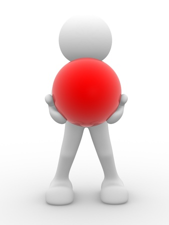 3d people - human character, person and a red sphere. 3d render  Stock Photo