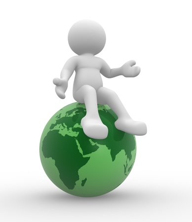 3d people - human character,person  and earth globe. 3d render  Stock Photo - 14799997