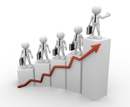 statistique: 3d people - Caract�re humain, personne avec une mallette et un graphique financi�re. Homme d'affaires. Rendu 3d