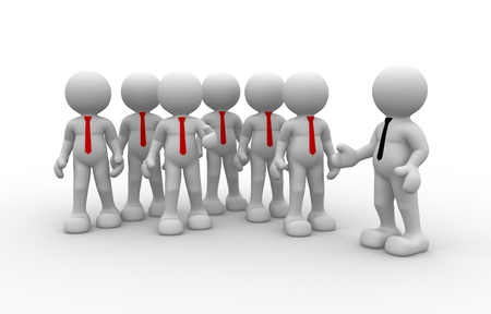 team leader: 3d people - human character, person in group( businessman). Leader and team. 3d render  Stock Photo
