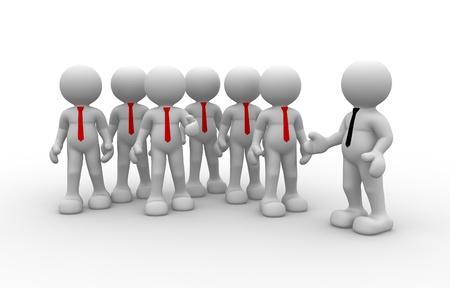 grupo de personas: La gente 3d - el carácter humano, la persona en el grupo (de negocios). Líder y su equipo. 3d