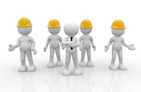 casco rojo: Gente 3d - carácter humano, persona en el grupo con casco (empresario y trabajadores). Liderazgo y equipo. 3d render