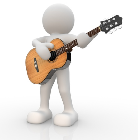 guitarist: 3d people - human character, person with acoustic guitar. Guitarist. 3d render illustration Stock Photo