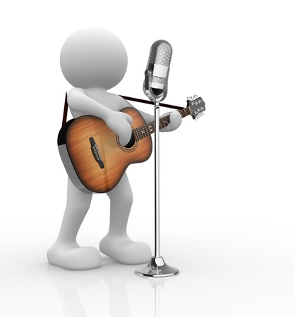 3d people - human character, person with acoustic guitar and microphone. Guitarist. 3d render illustration Stock Illustration - 14800981