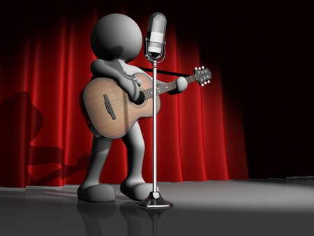 3d people - human character, person with acoustic guitar and microphone. Guitarist. 3d render illustration  illustration