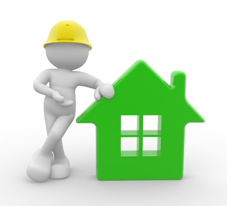 3d people - man, person with a house and . Builder with helmet.