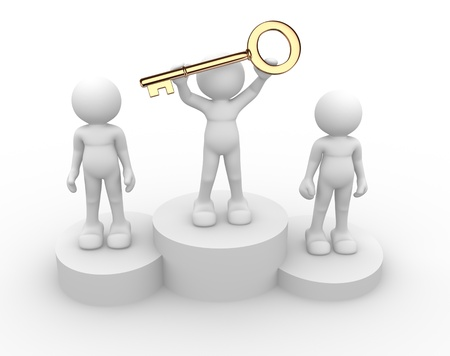 perseverance: 3d people - human character, person with golden key on a podium. 3d render