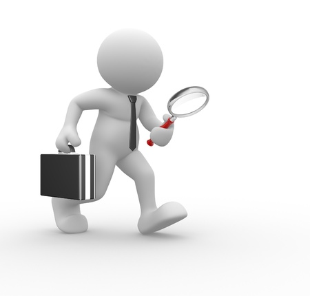3d people - human character, person with magnifier in hand and briefcase. Businessman. 3d render Stock Photo - 14800253