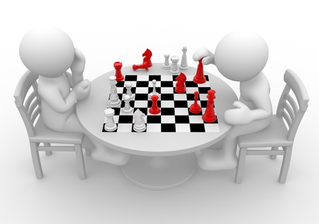 chess board: 3d people - human character, person at a table playing chess. 3d render Stock Photo