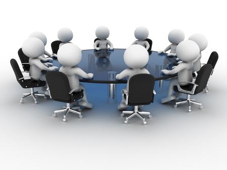 conferentie: 3d mensen - menselijk karakter, persoon aan vergadertafel. Partnerschap. 3d render
