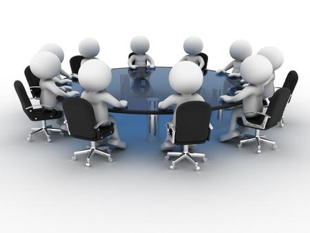 dialogo: Gente 3d - car�cter humano, persona en la mesa de conferencias. Asociaci�n. 3d render Foto de archivo