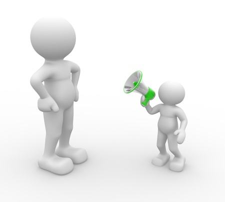 talk big: 3d people - human character, person with a megaphone. 3d render Stock Photo