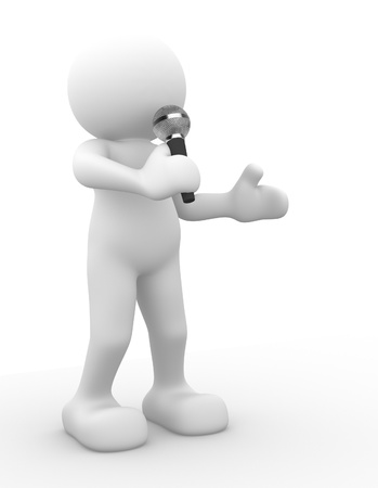 3d people - human character, person with  a microphone. 3d render Stock Photo - 14799945