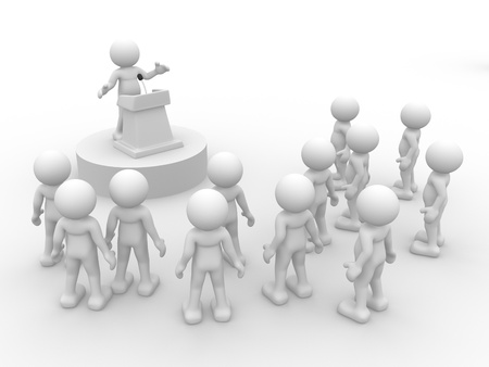 tribune: 3d people - human character , person  speaking from a tribune. Speech at the microphone.  3d render Stock Photo