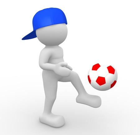 foot gear: 3d people - human character, person with a football ball.  3d render